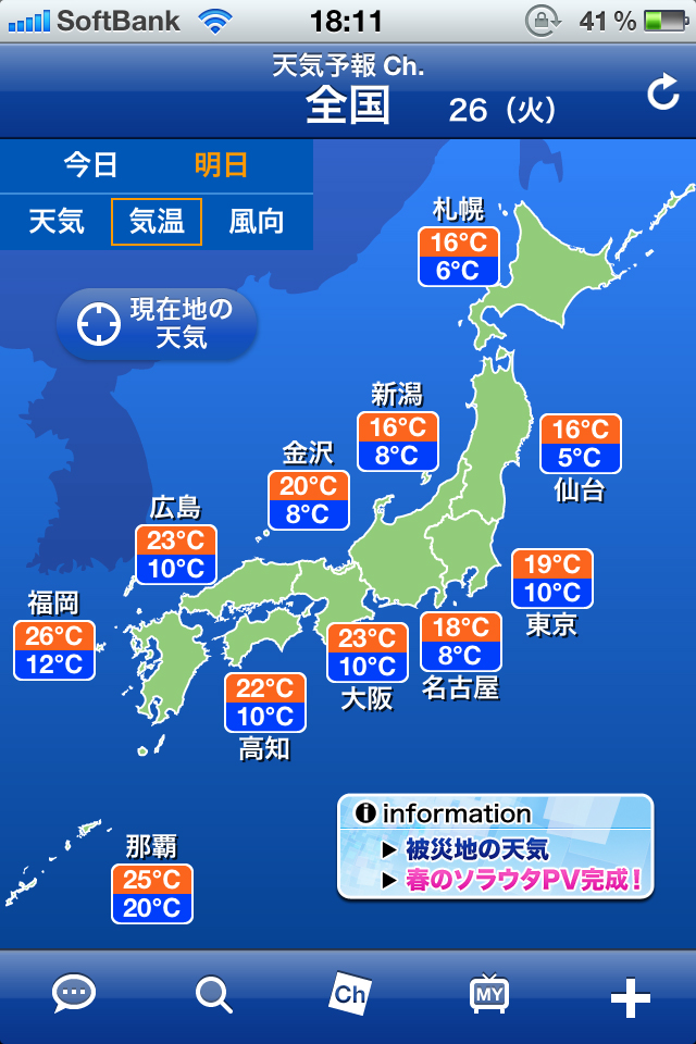 今日 の 最高 気温 最低 気温